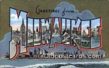 LLT200609 - Milwaukee, Wisconsin, USA Large Letter Town Postcard Post Card Old Vintage Antique