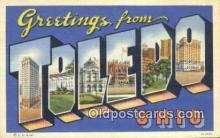 LLT200668 - Toledo, Ohio, USA Large Letter Town Postcard Post Card Old Vintage Antique
