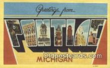 LLT200710 - Pontiac, Michigan USA Large Letter Town Vintage Postcard Old Post Card Antique Postales, Cartes, Kartpostal