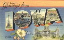 LLT200739 - Iowa USA Large Letter Town Vintage Postcard Old Post Card Antique Postales, Cartes, Kartpostal