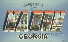 LLT200773 - Macon, Georgia USA Large Letter Town Vintage Postcard Old Post Card Antique Postales, Cartes, Kartpostal
