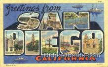LLT200800 - San Diego, California USA Large Letter Town Vintage Postcard Old Post Card Antique Postales, Cartes, Kartpostal
