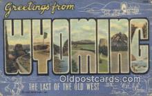 LLT200802 - Wyoming USA Large Letter Town Vintage Postcard Old Post Card Antique Postales, Cartes, Kartpostal