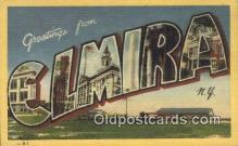LLT200805 - Elmira, NY USA Large Letter Town Vintage Postcard Old Post Card Antique Postales, Cartes, Kartpostal