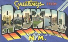 LLT200812 - Roswell, NM USA Large Letter Town Vintage Postcard Old Post Card Antique Postales, Cartes, Kartpostal