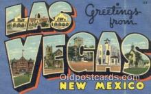 LLT200815 - La Vegas, New Mexico USA Large Letter Town Vintage Postcard Old Post Card Antique Postales, Cartes, Kartpostal