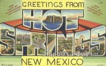 LLT200820 - Hot Springs, New Mexico USA Large Letter Town Vintage Postcard Old Post Card Antique Postales, Cartes, Kartpostal