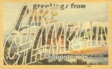 LLT200847 - Lake Champlain USA Large Letter Town Vintage Postcard Old Post Card Antique Postales, Cartes, Kartpostal