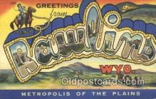 LLT200859 - Rawlins, Wyo USA Large Letter Town Vintage Postcard Old Post Card Antique Postales, Cartes, Kartpostal