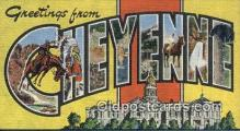 LLT200865 - Cheyenne, Wyo USA Large Letter Town Vintage Postcard Old Post Card Antique Postales, Cartes, Kartpostal