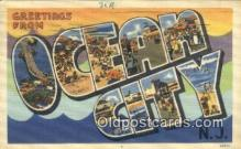 LLT200868 - Ocean City, NJ USA Large Letter Town Vintage Postcard Old Post Card Antique Postales, Cartes, Kartpostal