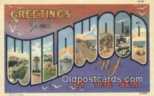 LLT200876 - Wildwood by the Sea, NJ USA Large Letter Town Vintage Postcard Old Post Card Antique Postales, Cartes, Kartpostal