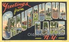 LLT200892 - Chautauqua Lake, NY USA Large Letter Town Vintage Postcard Old Post Card Antique Postales, Cartes, Kartpostal