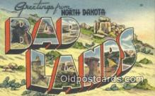 LLT200923 - Bad Lands, North Dakota USA Large Letter Town Vintage Postcard Old Post Card Antique Postales, Cartes, Kartpostal