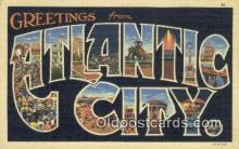 LLT200928 - Atlantic City USA Large Letter Town Vintage Postcard Old Post Card Antique Postales, Cartes, Kartpostal