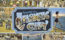 LLT200978 - Atlantic City USA Large Letter Town Vintage Postcard Old Post Card Antique Postales, Cartes, Kartpostal