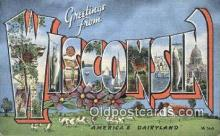 LLT200988 - Wisconsin USA Large Letter Town Vintage Postcard Old Post Card Antique Postales, Cartes, Kartpostal