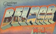 LLT201016 - Belmar, NJ USA Large Letter Town Vintage Postcard Old Post Card Antique Postales, Cartes, Kartpostal