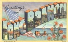 LLT201034 - Long Branch, NJ USA Large Letter Town Vintage Postcard Old Post Card Antique Postales, Cartes, Kartpostal