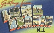 LLT201035 - Long Branch, NJ USA Large Letter Town Vintage Postcard Old Post Card Antique Postales, Cartes, Kartpostal