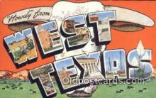 LLT201038 - West Texas USA Large Letter Town Vintage Postcard Old Post Card Antique Postales, Cartes, Kartpostal