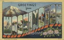 LLT201068 - Washington USA Large Letter Town Vintage Postcard Old Post Card Antique Postales, Cartes, Kartpostal