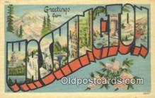 LLT201071 - Washington USA Large Letter Town Vintage Postcard Old Post Card Antique Postales, Cartes, Kartpostal