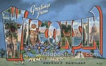 LLT201080 - Wisconsin USA Large Letter Town Vintage Postcard Old Post Card Antique Postales, Cartes, Kartpostal
