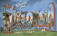 LLT201081 - Wisconsin USA Large Letter Town Vintage Postcard Old Post Card Antique Postales, Cartes, Kartpostal