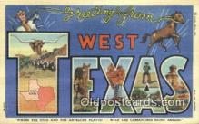 LLT201091 - West Texas USA Large Letter Town Vintage Postcard Old Post Card Antique Postales, Cartes, Kartpostal