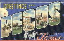 LLT201098 - Pecos, Texas USA Large Letter Town Vintage Postcard Old Post Card Antique Postales, Cartes, Kartpostal