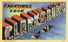 LLT201106 - Clarksburg, W VA USA Large Letter Town Vintage Postcard Old Post Card Antique Postales, Cartes, Kartpostal