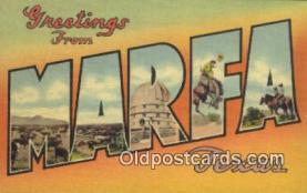 LLT201148 - Marfa, Texas USA Large Letter Town Vintage Postcard Old Post Card Antique Postales, Cartes, Kartpostal