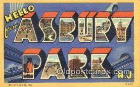 LLT201154 - Asbury Park, NJ USA Large Letter Town Vintage Postcard Old Post Card Antique Postales, Cartes, Kartpostal