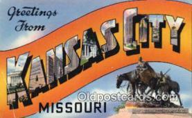 LLT201160 - Kansas City, Missouri USA Large Letter Town Vintage Postcard Old Post Card Antique Postales, Cartes, Kartpostal