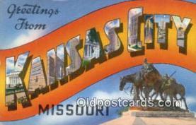 LLT201162 - Kansas City, Missouri USA Large Letter Town Vintage Postcard Old Post Card Antique Postales, Cartes, Kartpostal