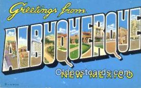 LLT201179 - Albuquerque, New Mexico USA Large Letter Town Vintage Postcard Old Post Card Antique Postales, Cartes, Kartpostal