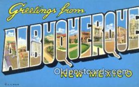 LLT201180 - Albuquerque, New Mexico USA Large Letter Town Vintage Postcard Old Post Card Antique Postales, Cartes, Kartpostal