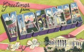 LLT201183 - Virginia USA Large Letter Town Vintage Postcard Old Post Card Antique Postales, Cartes, Kartpostal
