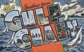 LLT201193 - Gulf Coast USA Large Letter Town Vintage Postcard Old Post Card Antique Postales, Cartes, Kartpostal