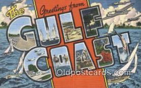 LLT201194 - Gulf Coast USA Large Letter Town Vintage Postcard Old Post Card Antique Postales, Cartes, Kartpostal