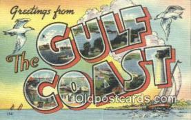 LLT201195 - Gulf Coast USA Large Letter Town Vintage Postcard Old Post Card Antique Postales, Cartes, Kartpostal