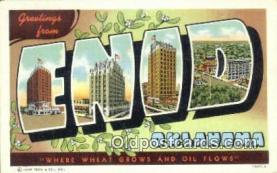 LLT201202 - Enid, Oklahoma USA Large Letter Town Vintage Postcard Old Post Card Antique Postales, Cartes, Kartpostal