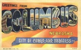 LLT201214 - Columbus, Nebraska USA Large Letter Town Vintage Postcard Old Post Card Antique Postales, Cartes, Kartpostal