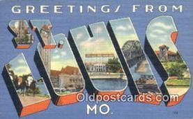 LLT201227 - St Louis, MO USA Large Letter Town Vintage Postcard Old Post Card Antique Postales, Cartes, Kartpostal