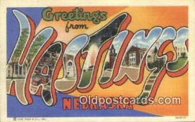 LLT201228 - Hastings, Nebraska USA Large Letter Town Vintage Postcard Old Post Card Antique Postales, Cartes, Kartpostal
