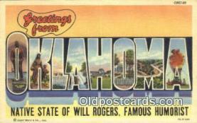 LLT201238 - Oklahoma USA Large Letter Town Vintage Postcard Old Post Card Antique Postales, Cartes, Kartpostal