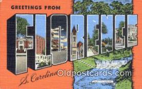 LLT201249 - Florence, S Carolina USA Large Letter Town Vintage Postcard Old Post Card Antique Postales, Cartes, Kartpostal