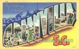 LLT201253 - Greenville, SC USA Large Letter Town Vintage Postcard Old Post Card Antique Postales, Cartes, Kartpostal