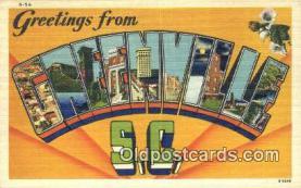 LLT201255 - Greenville, SC USA Large Letter Town Vintage Postcard Old Post Card Antique Postales, Cartes, Kartpostal